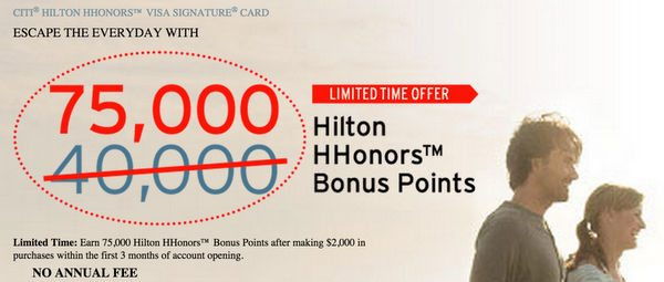 Better Bonus: Get 75,000 Hilton Points With the Citi Hilton Visa! [Expired]