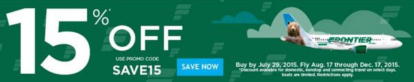 Frontier Airlines $49 Sale PLUS Save 15% (Today Only!)