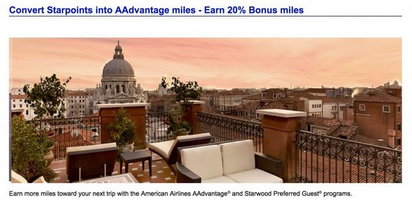 Get 20 Bonus Miles When You Transfer AMEX Starwood Points To American Airlines Miles