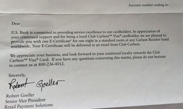 Did You Get A Surprise Free Night Certificate From Club Carlson