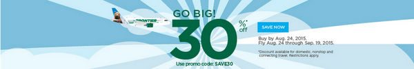 Ends Today! Get 30% Off Frontier Airlines Flights!