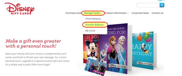 Consolidating disney gift cards