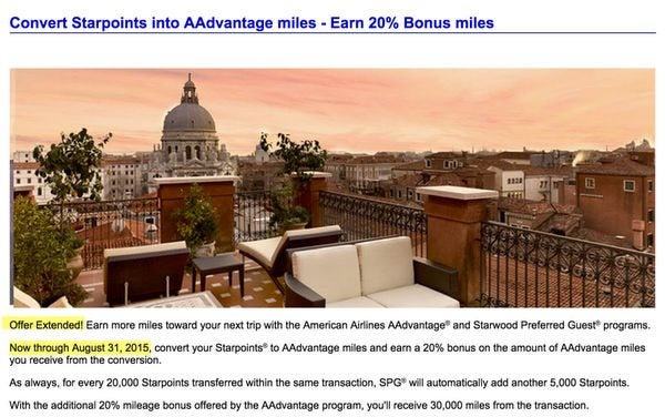 Starwood 20 Transfer Bonus To American Airlines Extended To August 31, 2015