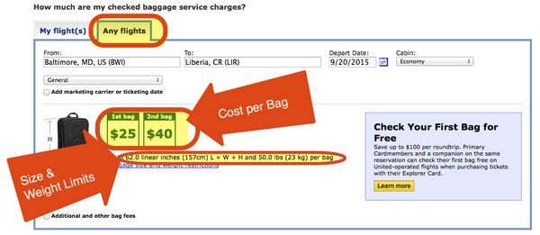 the easy way to find out how much checked bags will cost
