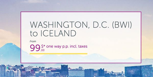 WOW 99 1 Way From Washington DC To Iceland