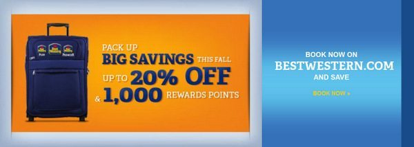 1,000 Points and 20% Off for Booking Online with Best Western Back to Business Promotion