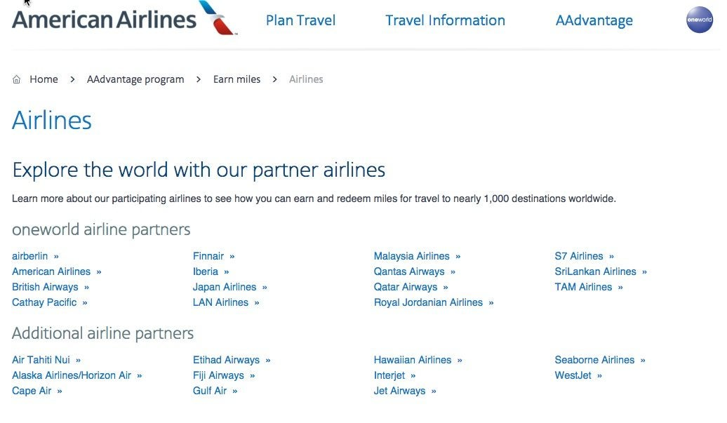 American Lists All of their Airline Partners on its Website