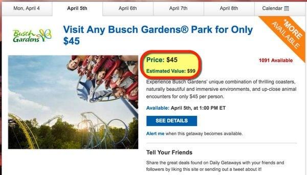 Get Half Off Busch Gardens And SeaWorld Theme Park Admission With Daily Getaways