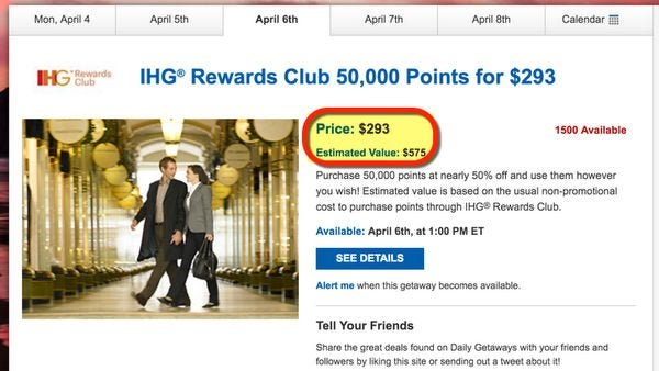 Save 50 On IHG Points With Daily Getaways For Cheap Award Stays
