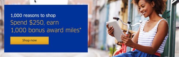 1,000 Bonus United Airlines Miles For Spending 250 Through Their Shopping Portal