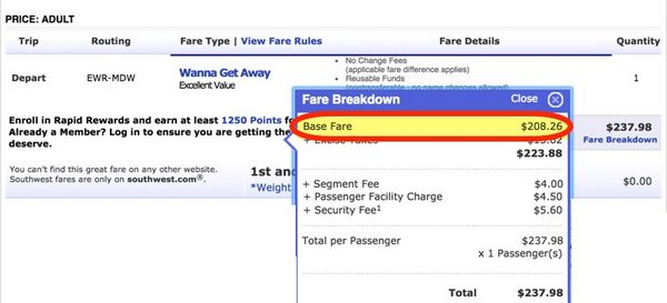 Southwest Increased Award Ticket Prices Unannounced