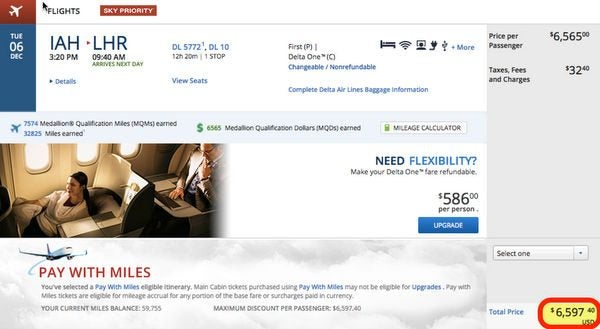 60,000 Delta Miles Bonus For Easy 600 Flight Versus A 6,597 Business Class Flight