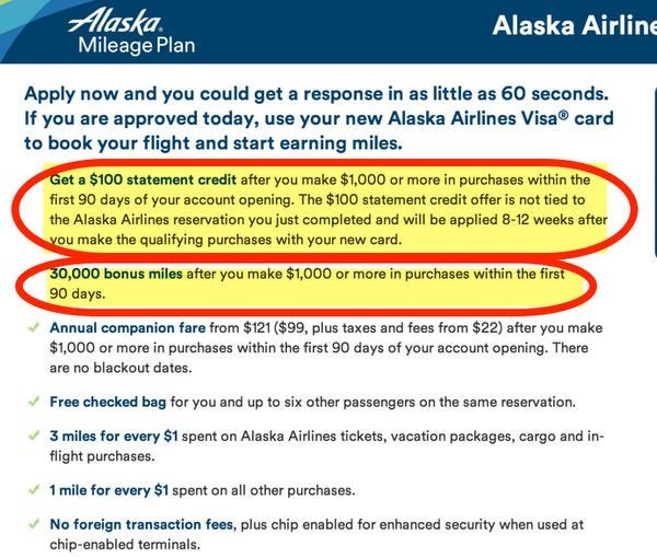 Better Deal Earn 30,000 Miles And 100 Statement Credit With Bank Of America Alaska Airlines Card