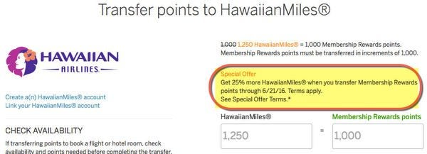 Limited Time 25 Transfer Bonus On AMEX Membership Rewards Points To Hawaiian Airlines Miles