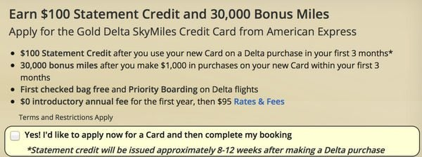 Better Offer For AMEX Delta Gold Card With 100 Statement Credit