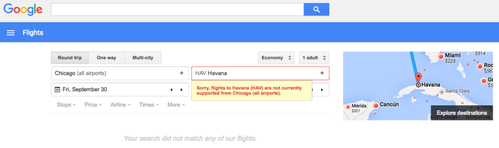 Flights to Cuba Using Google Flights Doesn't Seem Possible Yet
