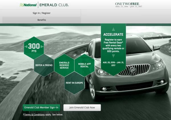earn 1 free car rental day for every 2 qualifying rentals at national car rental million mile