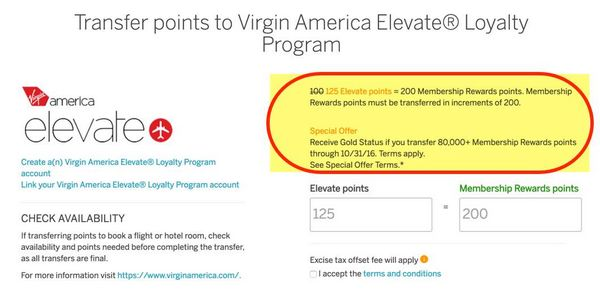 25 AMEX Transfer Bonus To Virgin America Elite Status Offer