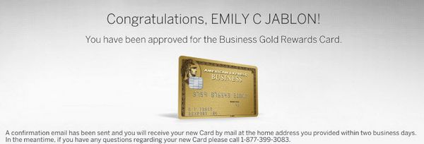 AMEX Business Gold Application