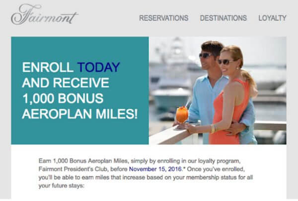 Earn 1000 Free Aeroplan Miles By Signing Up For Fairmont Hotels Loyalty Program