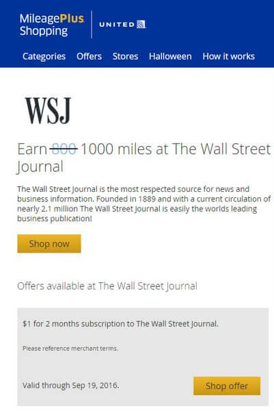 Easy 1,000 United Airlines Miles for Spending $1 With Wall Street Journal
