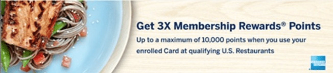 Targeted: Earn 3X Points on Dining With Your AMEX Membership Rewards Card
