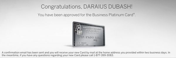AMEX Business Platinum Application