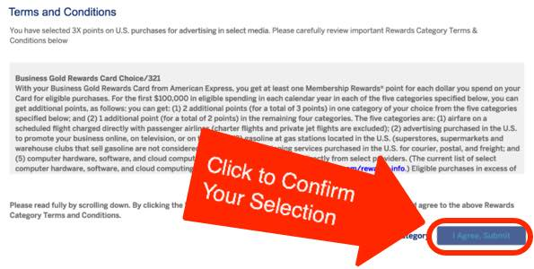 Choose AMEX Business Gold Bonus Category