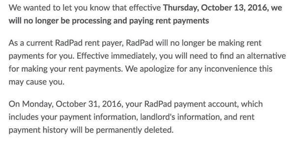 Effective Tomorrow No More Rent Payments With RadPad