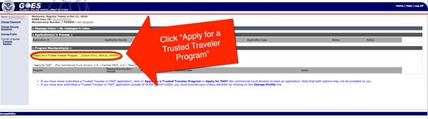 Global Entry Application