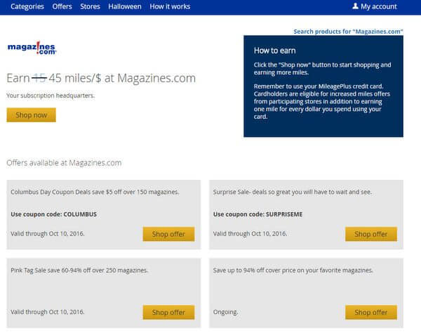 United Airlines Miles For Magazines