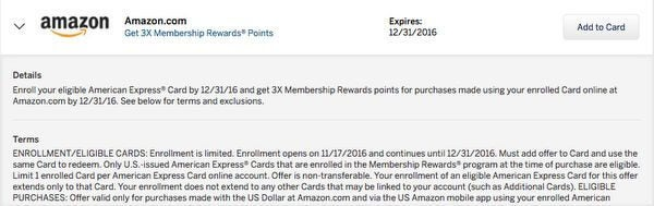 AMEX Offer Alert Earn 3X Membership Rewards Points At Amazon