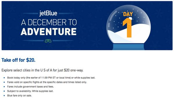 20 Flights 400 Points One Way With Todays JetBlue December Deals