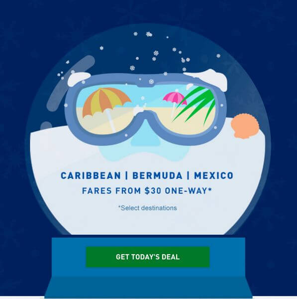 $30+ Flights to Tropical Destinations With Today's JetBlue December Deals!