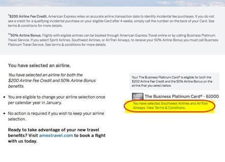 American Express Business Platinum Airline Credit