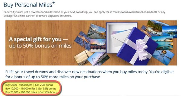 Buy United Airlines Miles