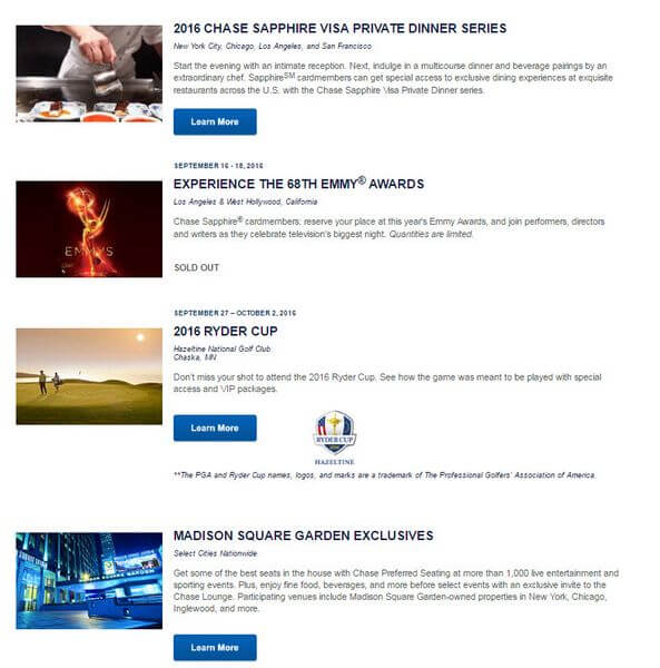 Chase Sapphire Exclusive Events