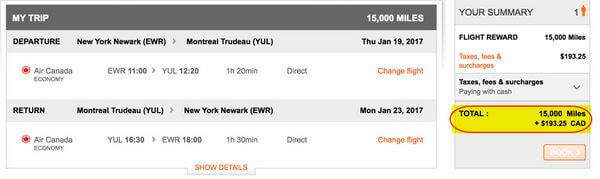 American Express Membership Rewards Points For Flights To Canada