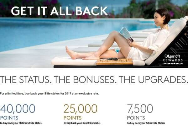 Keep Your Marriott Perks:  Buy Back Your 2016 Status With Points