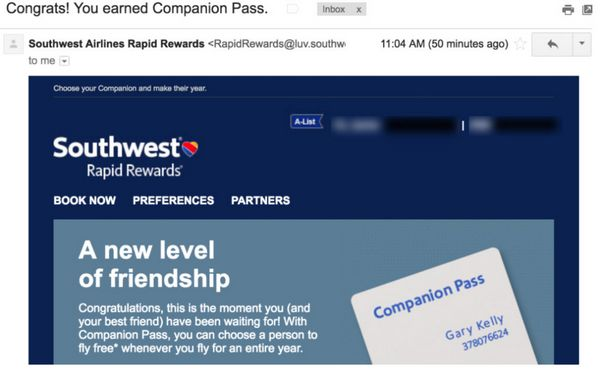 Southwest Companion Pass Glitch