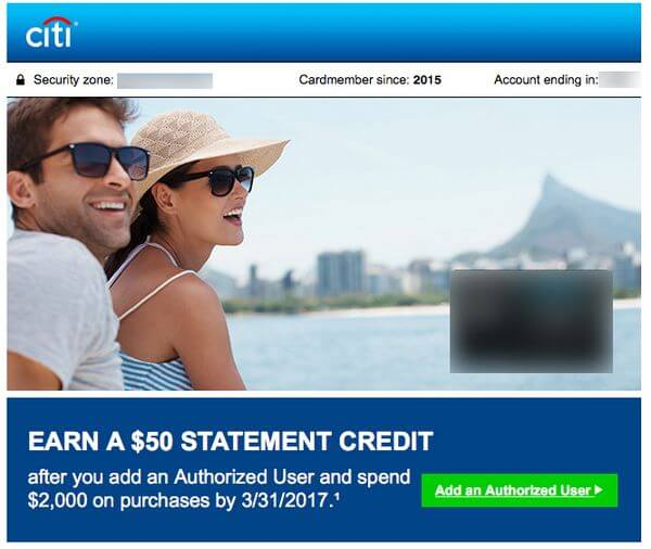 Targeted:  $50 Statement Credit on Certain Citi Cards