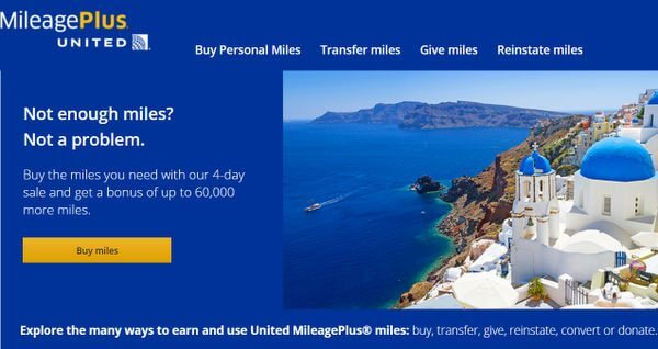 4 Days Only: Up to 60,000 Bonus Miles When Buying United Airlines Miles