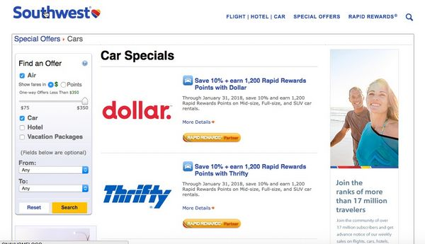 Southwest Points Car Rental