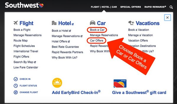 Use Points Southwest To Book Car Rental