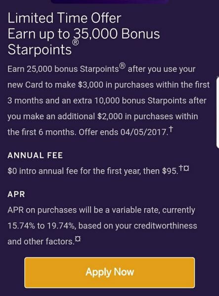 Starwood American Express Application