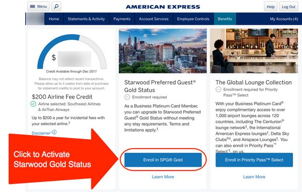 Starwood Gold Status With American Express Platinum Card