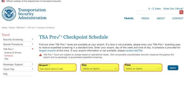 How to Use Official TSA PreCheck Schedule