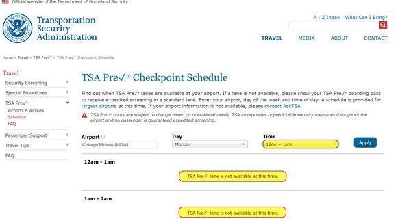 TSA PreCheck Hours