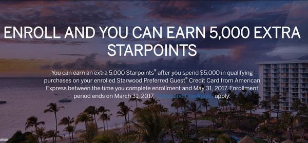 Targeted:  Earn 5,000 Bonus Starwood Points!