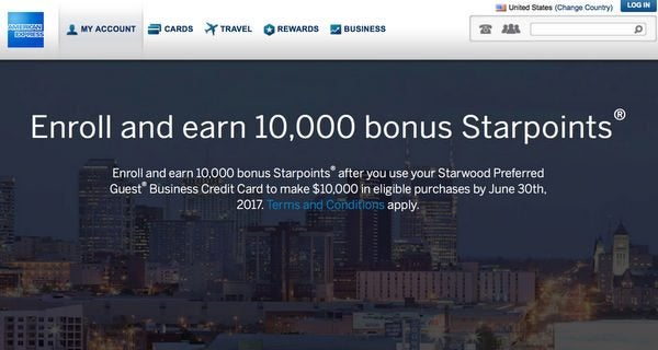 Big Targeted Promotion For AMEX Starwood Business Cardholders